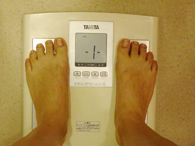 脚やせコース前の体重測定