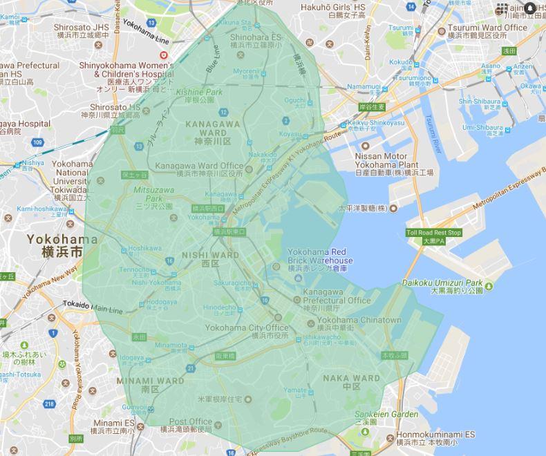 ウーバーイーツ 横浜市内 サービス提供エリアマップ