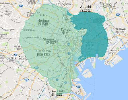 Uber Eats 東京 最新サービスエリアマップ