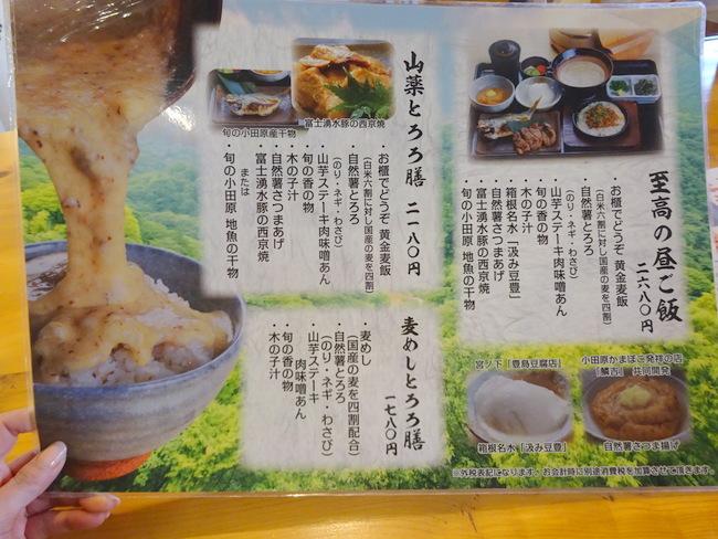 箱根自然薯の森 山薬 (やまぐすり)メニュー